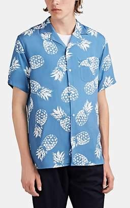 Officine Generale Men's Pineapple-Print Camp Shirt - Lt. Blue