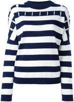 Jil Sander striped round neck jumper - women - Silk/Cotton/Virgin Wool - 36
