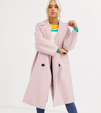 Asos DESIGN Petite classic coat with statement buttons in pink