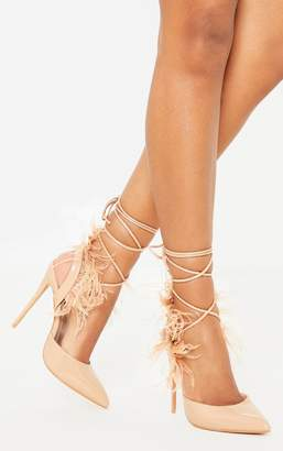 PrettyLittleThing Nude Feather Heel Ankle Tie Court Shoe