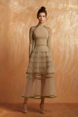Gemy Maalouf Long Sleeve Midi-Tea Dress
