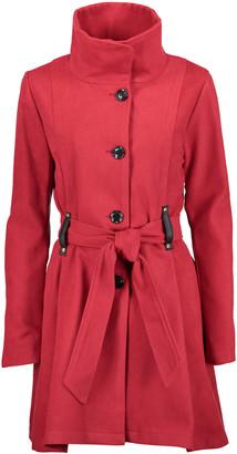 Yoki Women's Car Coats RED - Red Belted Funnel Collar Coat - Women