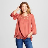Knox Rose Women's Scoop Neck 3/4 Ruffle Sleeve Blouse