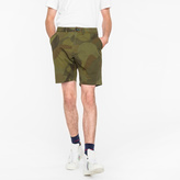 Paul Smith Men's Green 'Circle Camouflage' Cotton Shorts