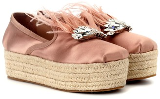Miu Miu Satin platform espadrille loafers