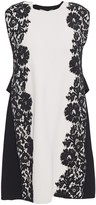 Valentino Lace-appliqued Two-tone Stretch-knit Mini Dress