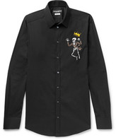 Dolce & Gabbana Slim-Fit Appliquéd Stretch-Cotton Poplin Shirt