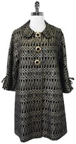 Milly Black & Gold Embroidered Wool Blend 3/4 Sleeve Coat