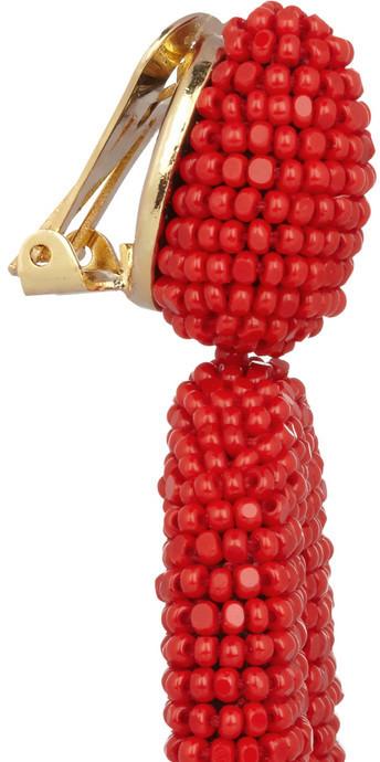 Oscar de la Renta Gold-plated beaded clip earrings