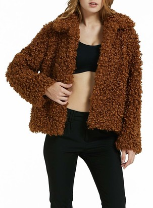 Bellivera Women's Faux Fleece Fuzzy Jacket Warm Faux Shearling Shaggy Coat with Hooked Flap Brown Small