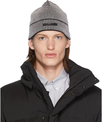 Givenchy Grey and Black Logo Patch Beanie