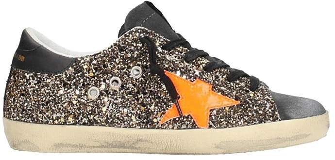 Golden Goose Superstar Silver Glitter Leather Sneakers