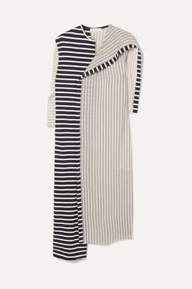 J.W.Anderson Asymmetric Striped Jersey And Cotton Dress - Navy