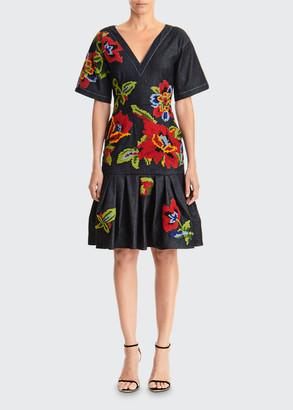 Carolina Herrera Floral Embroidered V-Neck Belted Denim Dress