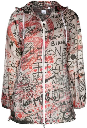 Burberry Graffiti-Print Hooded Coat