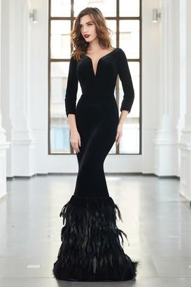 Cristallini Long Sleeve Velvet Trumpet Gown
