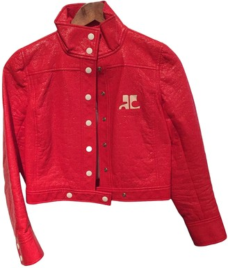 Courreges Red Cotton Leather Jacket for Women Vintage