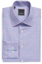 David Donahue Men's Regular Fit Plaid Dress Shirt