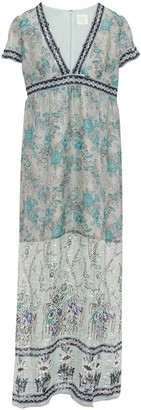 Anna Sui Printed Metallic Fil Coupe Silk-blend Maxi Dress