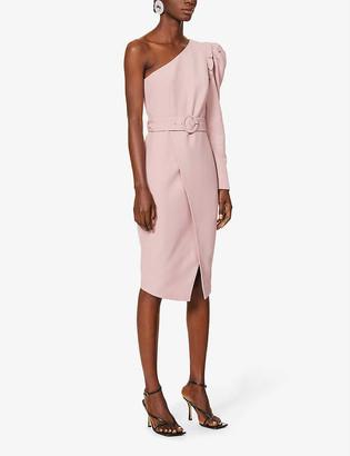 Lavish Alice One-shoulder stretch-crepe midi wrap dress