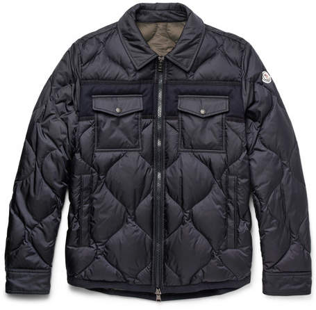 Moncler Stephan Felt-Trimmed Quilted Shell Down Jacket