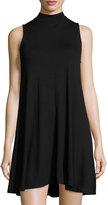 Joan Vass Sleeveless Mock-Neck Swing Dress, Black