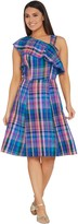 Isaac Mizrahi Live! One-Shoulder Madras Plaid Dress