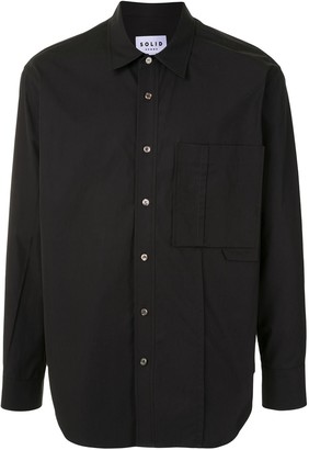 Solid Homme Cotton Chest Pocket Shirt