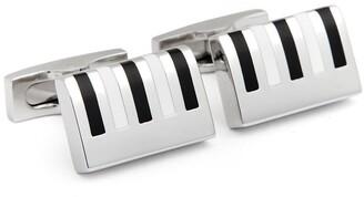 Hickey Freeman Rhodium Plated Enamel Piano Keyboard Detail Cuff Links