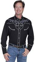 Scully Western Shirt Mens Long Sleeve Snap Skull Roses L P-854