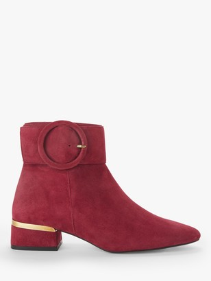 John Lewis & Partners Pano Suede Low Heel Buckle Ankle Boots