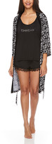 Bebe Women's Sleep Bottoms BLK - Black Logo Robe Pajama Set - Women & Plus