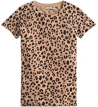J.Crew Leopard Printed Short Sleeve Tee in Cashmere (Heather Camel Mod Leopard) Women's Clothing