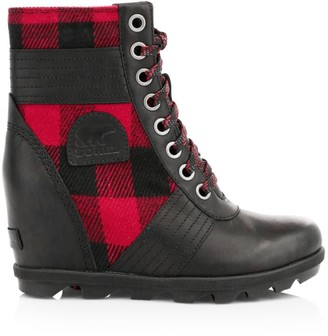 Sorel Lexie Tartan Lace-Up Wedge Boots