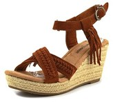 Minnetonka Naomi Women Open Toe Suede Brown Wedge Sandal.