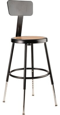 """Height Adjustable Stool with Back and Round Hardboard Seat National Public Seating Size: 18"""""""