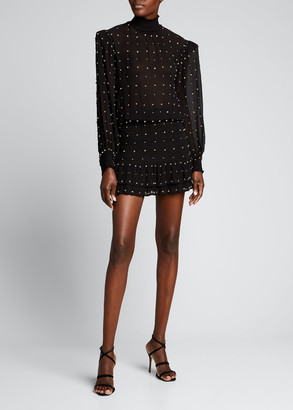 retrofete Hedy Embellished High-Neck Mini Dress