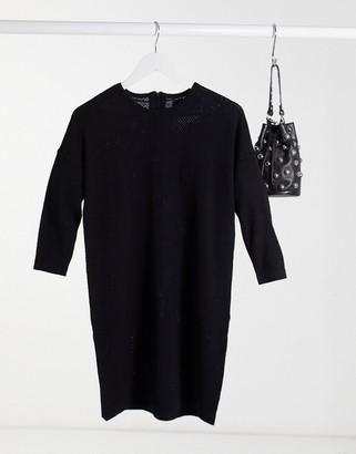 Vero Moda round neck jumper dress in black