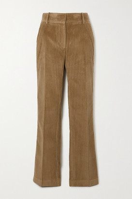 Victoria Beckham Cotton-corduroy Straight-leg Pants - Light brown