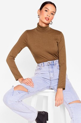 Nasty Gal Womens Roll With It Ribbed Turtleneck Sweater - Khaki