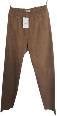 Sand Beige Suede Trousers for Women