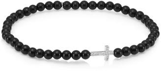 Sydney Evan 14K White Gold, Diamond & Onyx Cross Beaded Bracelet