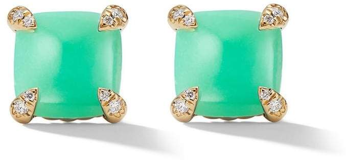 David Yurman 18kt yellow gold Châtelaine chrysoprase and diamond stud earrings