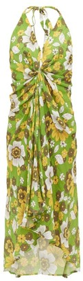 Dodo Bar Or Jennifer Gathered Floral-print Cotton Dress - Green Print