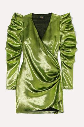 De La Vali Gin Wrap-effect Ruched Lamé Mini Dress - Green
