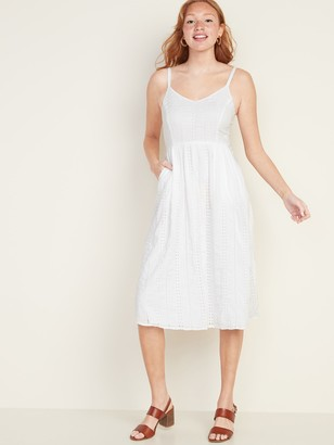Old Navy Fit & Flare Eyelet Cami Midi Dress for Women