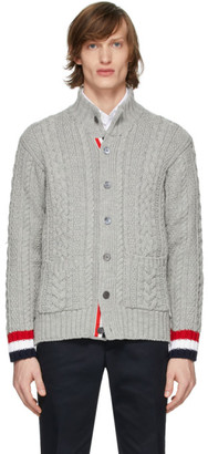 Thom Browne Grey Aran Mock Neck Cardigan