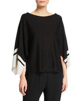 Eileen Fisher Petite Bateau-Neck Striped-Sleeve Sweater