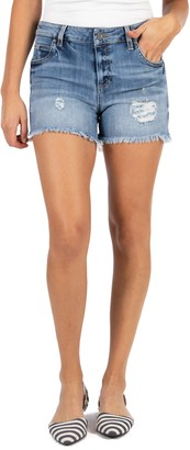 KUT from the Kloth Gidget High Waist Frayed Denim Cutoff Shorts