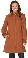 As Is Dennis Basso Wool Blend Coat with Sweater Knit Trim
